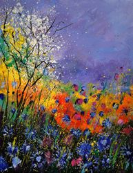 wild flowers 454120, Paintings, Impressionism, Landscape, Oil, By Pol Ledent