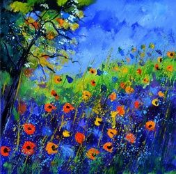wild flowers 667130, Paintings, Impressionism, Floral, Canvas, By Pol Ledent