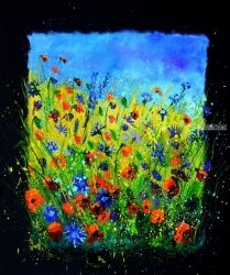 Wild flowers 677140, Paintings, Impressionism, Botanical, Canvas, By Pol Ledent