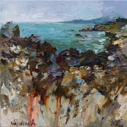 Wild rocky coast - Original<br>oil seascape painting, Paintings, Impressionism, Seascape, Oil, By Anastasiya Valiulina