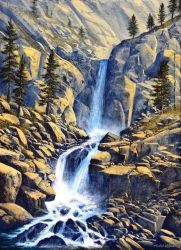 Wilderness Waterfall, Paintings, Realism, Landscape, Oil,Painting, By Frank Wilson