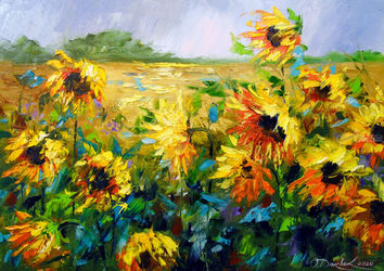 Wind and sunflowers, Paintings, Impressionism, Botanical,Floral,Land Art,Landscape,Nature, Canvas,Oil,Painting, By Olha   Darchuk