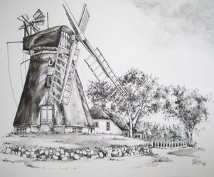Windmill, Paintings, Fine Art,Realism, Architecture,Landscape, Ink,Painting, By Abha Neotia