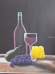 Wine and Cheese, Paintings, Fine Art, Still Life, Acrylic, By melanie lutes