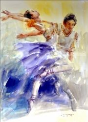 Wings : Philippines Dance, Paintings, Expressionism,Fine Art,Realism, Figurative,People,Portrait, Watercolor, By Jun Martinez
