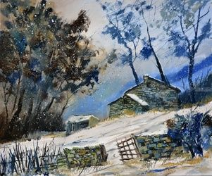 winter 655120, Architecture,Decorative Arts,Drawings / Sketch,Paintings, Impressionism, Landscape, Canvas, By Pol Ledent