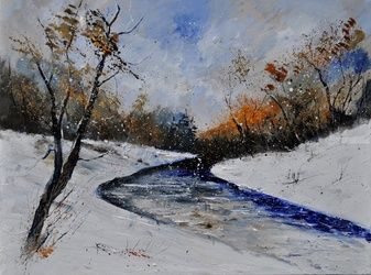 winter 6841, Architecture,Decorative Arts,Drawings / Sketch,Paintings, Impressionism, Landscape, Canvas, By Pol Ledent