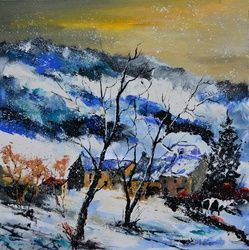 winter 7751, Architecture,Decorative Arts,Drawings / Sketch,Paintings, Impressionism, Nature, Canvas, By Pol Ledent