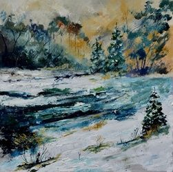 winter 8851902, Architecture,Decorative Arts,Drawings / Sketch,Paintings, Impressionism, Landscape, Canvas, By Pol Ledent