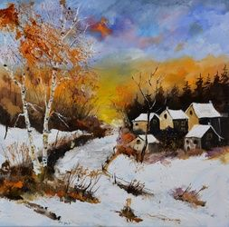 winter 886101, Architecture,Decorative Arts,Drawings / Sketch,Paintings, Expressionism, Landscape, Canvas, By Pol Ledent