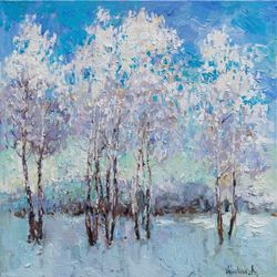Winter Birch Trees - Original<br>oil painting, Paintings, Impressionism, Landscape,Nature, Canvas,Oil, By Anastasiya Valiulina
