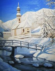 Winter bridge, Paintings, Fine Art,Impressionism,Modernism,Realism, Landscape, Canvas,Oil, By Ivan Klymenko
