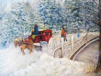 Winter Carriage in Central<br>Park, Paintings, Fine Art,Impressionism,Realism,Romanticism, Cityscape,Landscape,Window on the World, Canvas,Oil,Painting, By Loretta Luglio