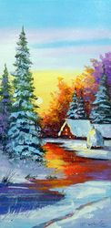 Winter dawn, Paintings, Expressionism,Fine Art,Impressionism, Botanical,Landscape,Nature, Canvas,Oil,Painting, By Olha   Darchuk