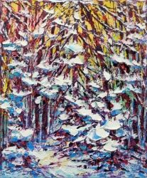 Winter Dusk, Gatineau, Paintings, Impressionism, Landscape, Oil, By Margaret Chwialkowska