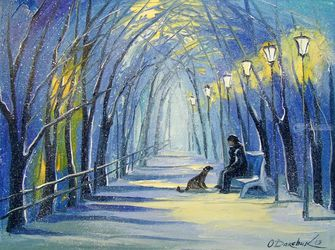 Winter evening, Paintings, Expressionism,Fine Art,Impressionism, Animals,Botanical,Landscape,People, Canvas,Oil,Painting, By Olha   Darchuk