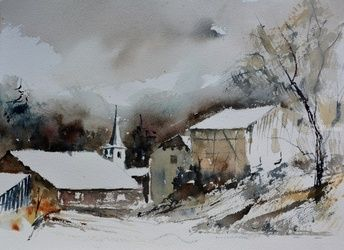 winter in baillamont, Architecture,Decorative Arts,Drawings / Sketch,Paintings, Impressionism, Landscape, Watercolor, By Pol Ledent