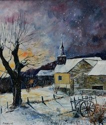 winter in Laforet, Architecture,Decorative Arts,Drawings / Sketch,Paintings, Impressionism, Landscape, Canvas, By Pol Ledent