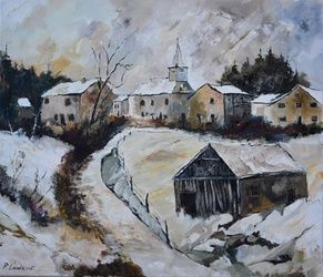 winter in Sensenruth, Paintings, Expressionism, Landscape, Canvas, By Pol Ledent