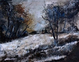 winter in the wood 54, Architecture,Decorative Arts,Drawings / Sketch,Paintings, Expressionism, Decorative, Canvas, By Pol Ledent