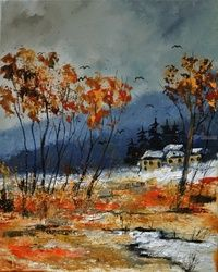 winter is coming, Architecture,Decorative Arts,Drawings / Sketch,Paintings, Impressionism, Landscape, Canvas, By Pol Ledent