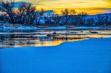 Winter River Sunset, Architecture, Fine Art, Landscape, Photography: Stretched Canvas Print, By Jim Stewart