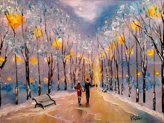 Winter romance, Paintings, Impressionism, Landscape, Painting, By Valeriy Politov