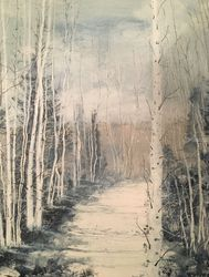 Winter's Breath, Paintings, Impressionism, Landscape, Watercolor, By Stephen Keller