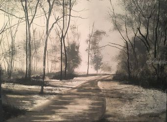 Winter's Road, Paintings, Impressionism, Landscape, Watercolor, By Stephen Keller