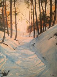 Winter's Shadow, Paintings, Impressionism, Landscape, Watercolor, By Stephen Keller