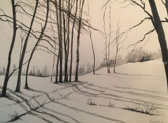 Winter Shadows, Paintings, Impressionism, Landscape, Watercolor, By Stephen Keller