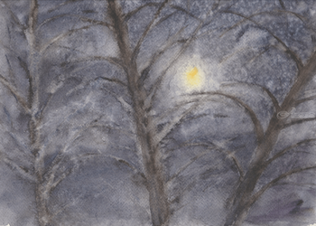 Winter trees, Paintings, Expressionism, Landscape,Nature, Watercolor, By Tetyana K