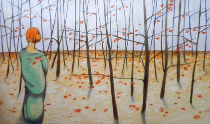 winter woods, Paintings, Existentialism,Expressionism,Fine Art, Figurative,Landscape,Portrait, Oil,Pencil,Wood, By federico cortese