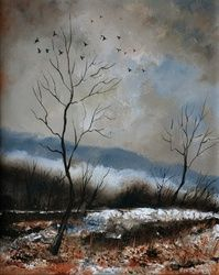 winter4571, Architecture,Decorative Arts,Drawings / Sketch,Paintings, Impressionism, Decorative, Canvas, By Pol Ledent