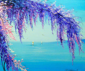 Wisteria by the sea, Paintings, Impressionism, Botanical,Floral,Landscape,Nature,Seascape, Canvas,Oil,Painting, By Olha   Darchuk
