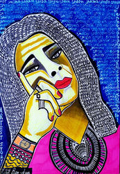 Woman Israeli artist colorful<br>drawings and paintings Israel, Paintings, Expressionism, People, Ink, By Mirit Ben-Nun
