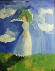 Woman with a Parasol, Paintings, Impressionism, Portrait, Oil, By MD Meiser