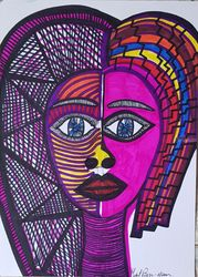 Women modern artistic drawing, Drawings / Sketch, Expressionism, Composition, Acrylic, By Mirit Ben-Nun