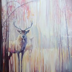 Woodland Souls - large winter<br>landscape painting with deer, Paintings, Expressionism, Animals, Oil, By Gill Bustamante
