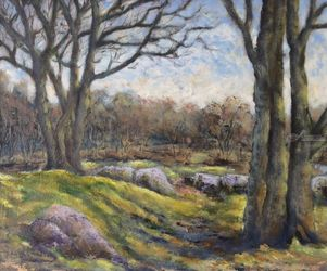 Woods at Burrator Dartmoor, Paintings, Impressionism, Landscape, Oil, By David Mather