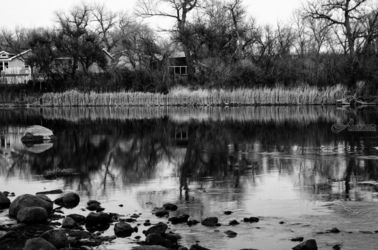 Wyoming River BW3, Photography, Fine Art, Landscape, Photography: Stretched Canvas Print, By Jim Stewart