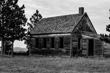 Wyoming Shack In Black And<br>White, Photography, Fine Art, Architecture, Photography: Premium Print, By Jim Stewart