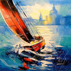 Yacht in the wind,, Paintings, Impressionism, Landscape,Moving Images, Canvas,Oil,Painting, By Olha   Darchuk