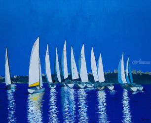 Yachts, Paintings, Fine Art,Impressionism,Modernism,Realism, Seascape, Canvas,Oil, By Ivan Klymenko