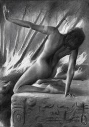 Yeast – 18-09-19, Drawings / Sketch, Fine Art,Realism,Surrealism, Anatomy,Composition,Environmental art,Erotic,Landscape,Nature,Nudes, Pencil, By Corne Akkers