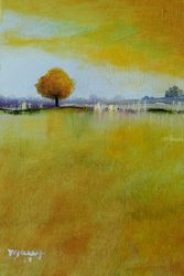 Yellow Flamboyan, Paintings, Impressionism, Landscape, Oil, By Alicia Maury