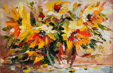 Yellow flowers (framed), Paintings, Impressionism, Floral,Still Life, Oil, By Liubov Kuptsova