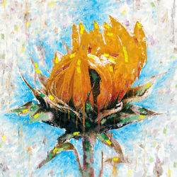 yellow petals, Illustration,Paintings, Impressionism, Floral, Mixed,Painting, By Angelo