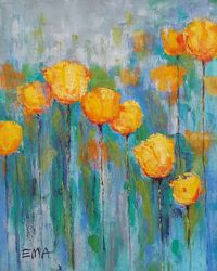 YELLOW TULIPS IN BLUE MOOD, Paintings, Abstract,Existentialism,Fine Art,Modernism, Floral,Nature, Acrylic, By Emilia Milcheva
