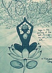 Yoga, Drawings / Sketch, Symbolism, Portrait, Pencil, By Naveen Kumar
